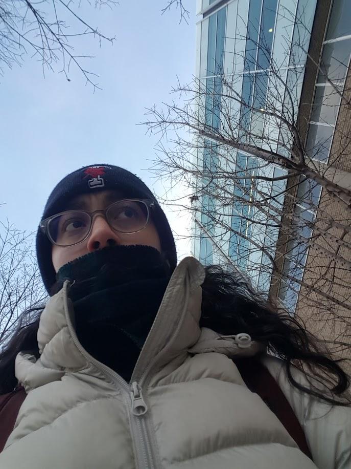 cold girl bundled up