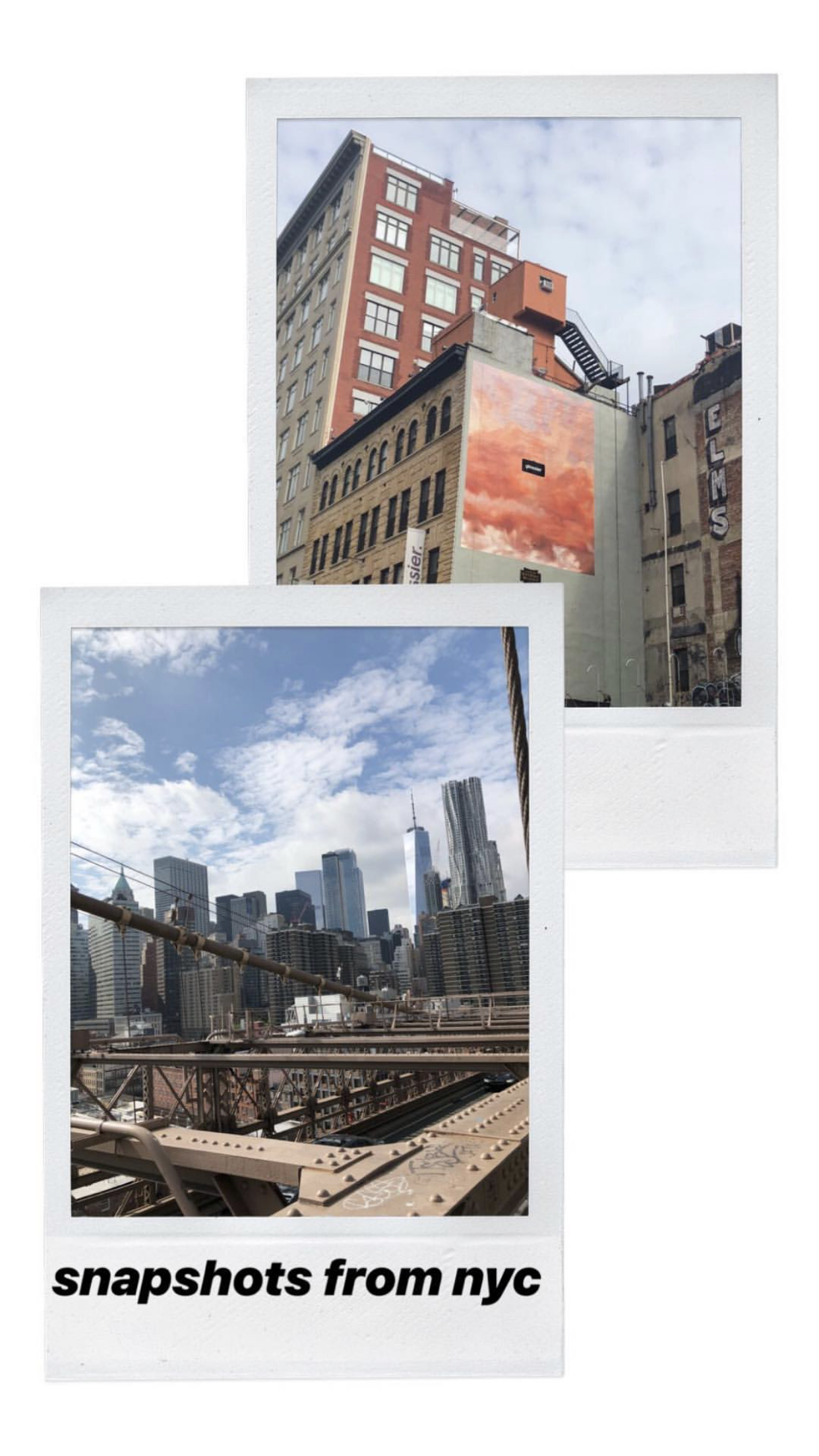 polaroid pictures of NYC's brooklyn bridge and Soho