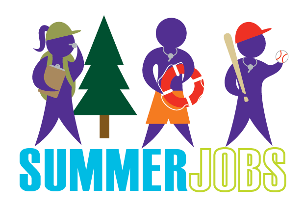 "3 cartoon figures with ""Summer Jobs"" printed beneath"