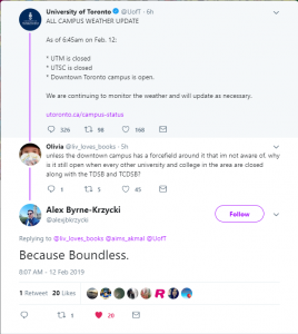"""a tweet depicting an exchange on twitter """"because boundless"""""""