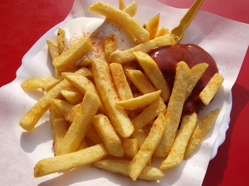 A stock photo of some fries. Caption: Obligatory food stock photo