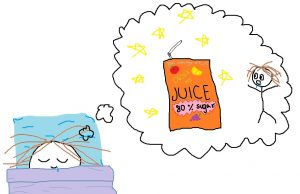 "A stick figure sleeping in a blue and purple bed, dreaming that they are standing beside a giant juice box. The juice box says ""Juice: 800 servings of fruit, 80% sugar."""