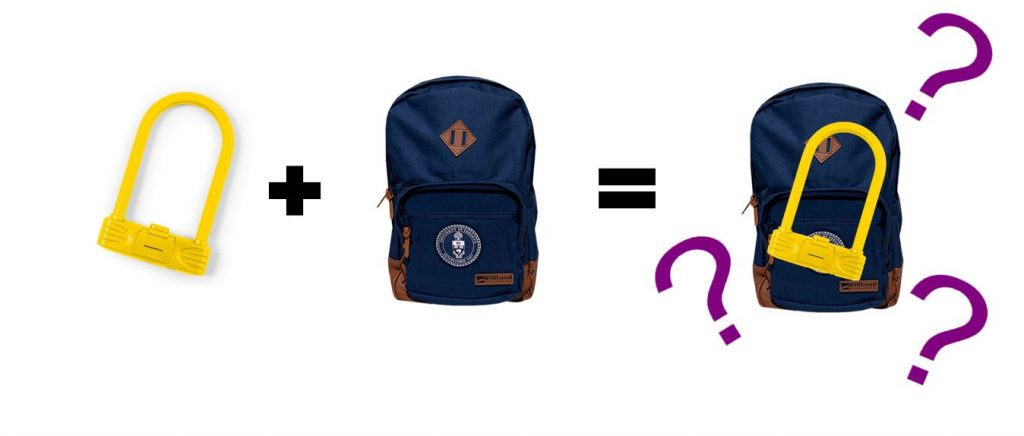 U lock and backpack
