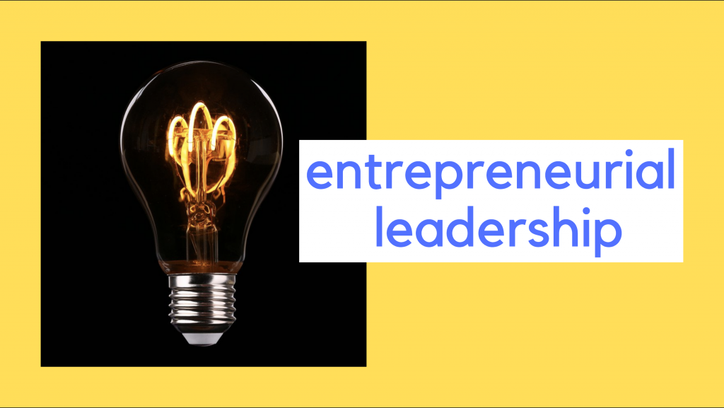 entrepreneurial leadership title with a picture of a lightbulb to the right