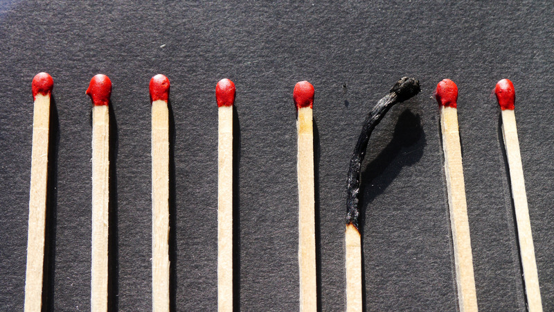 A stockphoto of some matches. Caption: Welcome to burnout