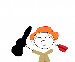 "A sketch of a person holding a guitar case in one hand and a red bag in the other, wearing an orange hat. It is a sketch of the scene from The Sound of Music movie, where Julie Andrews sings ""I Have Confidence""."