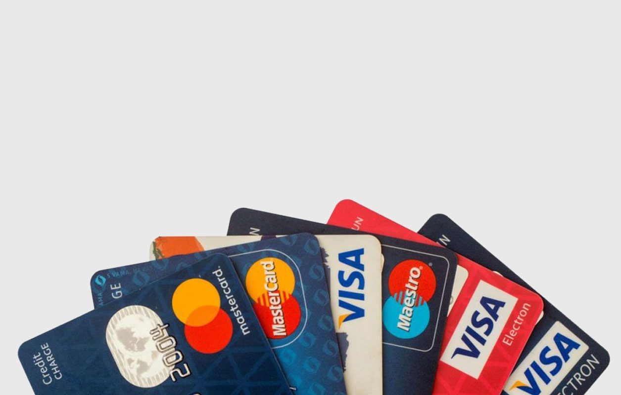 A spread of 7 credit cards