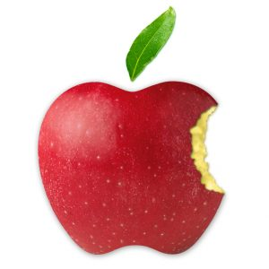 apple logo with real apple