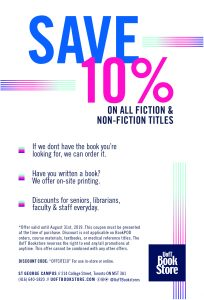save 10% off non-ficition and fiction book at U of T bookstore with coupon OFFSITE10 until Aug 31, 2019