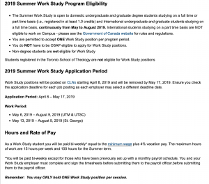 Summer Work Study Requirements