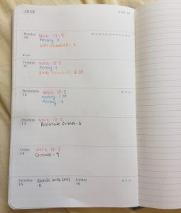 One page of a day planner outlining various events in the week.