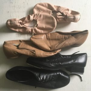 Tap shoes, jazz shoes, ballet flats.