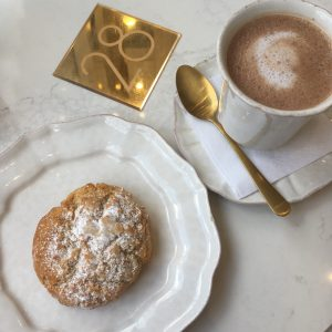 A scone and a hot chocolate from Sorelle and Co.