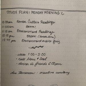 List of study plan.