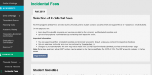 A screenshot of Acorn open on the page for incidental fees.