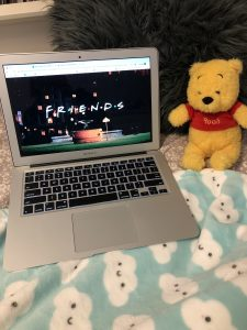 Picture of my laptop showing Netflix, with a blanket and plush toy on the side.