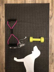 Picture of my yoga mat, exercise equipment, and headphones