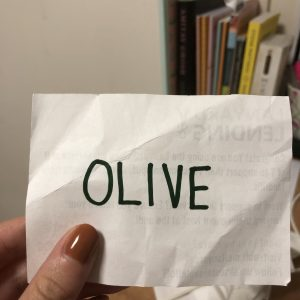 Olive's name tag.