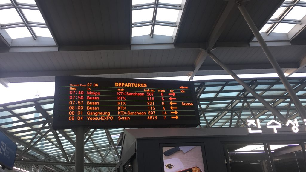 Departure information at a train station