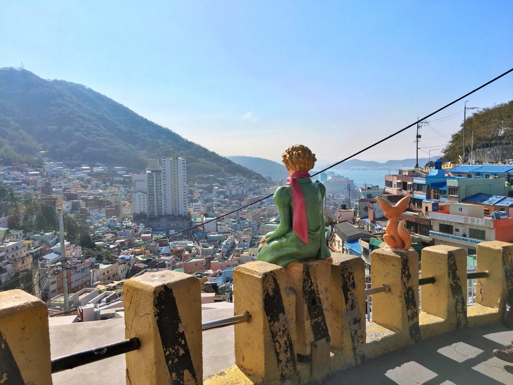 The Little Prince overlooking Gamcheon Culture Village