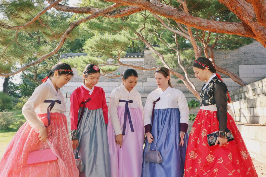 Girls wearing hanbok, traditional Korean clothing