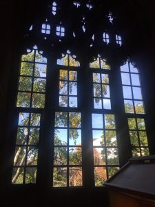 A picture of a window in a library