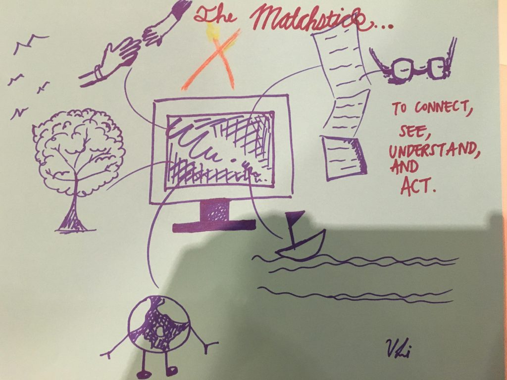 A picture of a drawing about The Matchstick- trees, computer screens, sphere of the globe, newspapers, and glasses