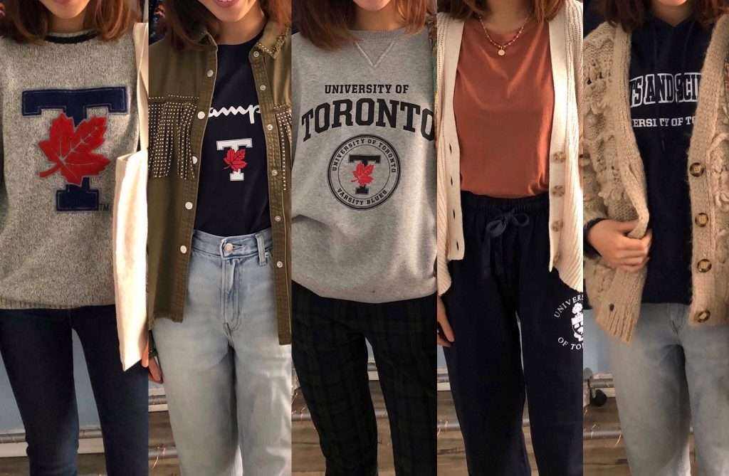 Picture of 5 outfits with U of T clohtes