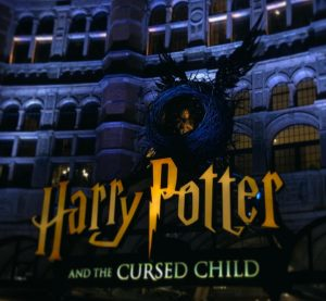 "The ""Harry Potter and the Cursed Child"" logo at the entrance of the theatre."