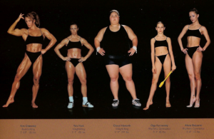Five women: a body builder, two weightlifters, and two rhythmic gymnasts, stand against a black background in near-identical black underclothing.