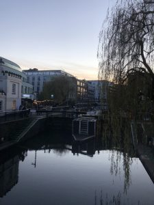 A canal running between buildings. There's a boat in the canal and there's a tree on the right side of the frame.