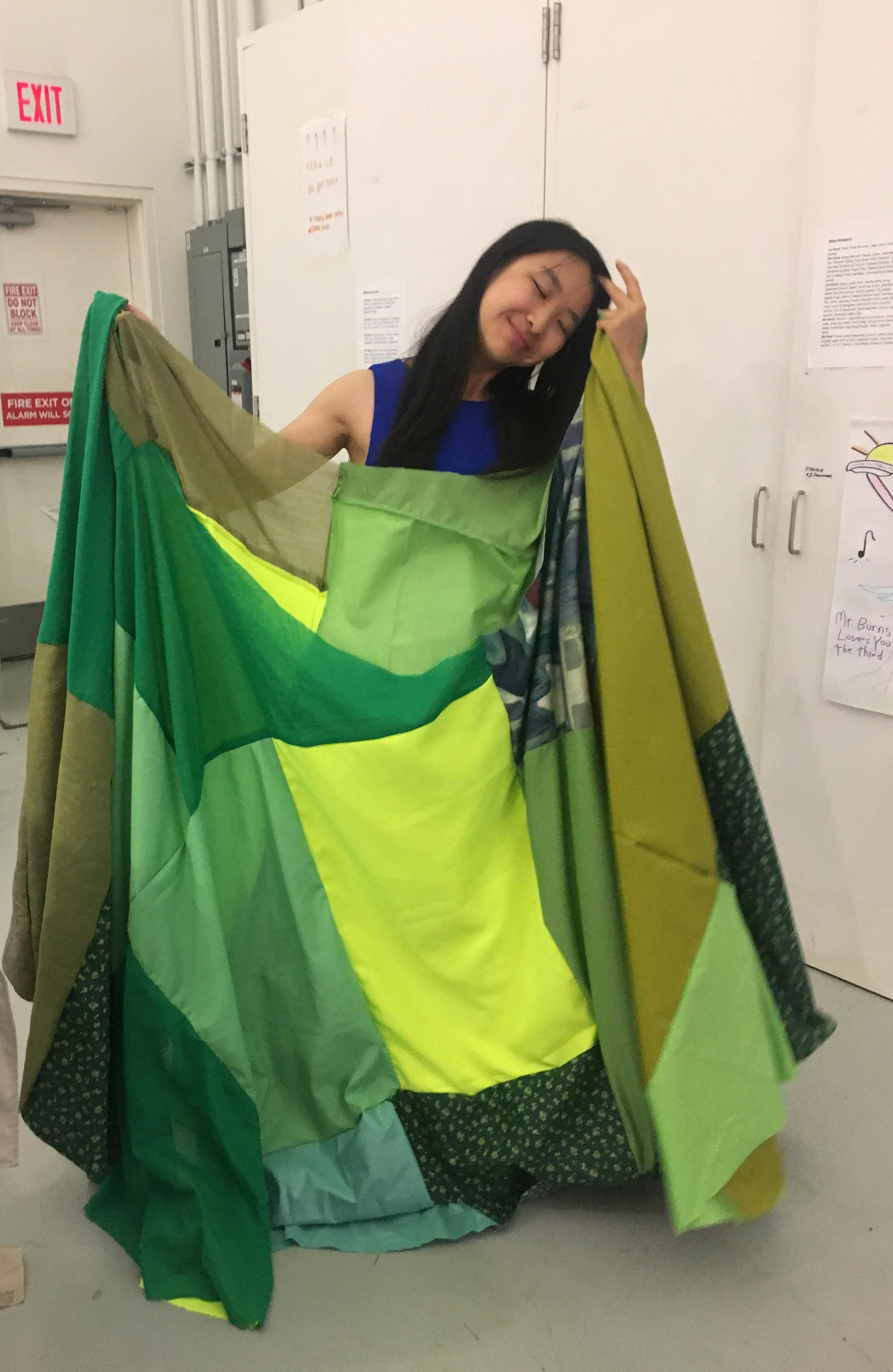 picture of me with a green patchwork skirt!