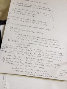 A picture of notes for a class