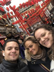 A selfie of Francesca with her mother and brother in front of China Town in London