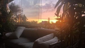 A bright sunset out of balcony.