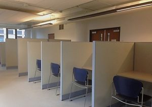 cubicles with chairs