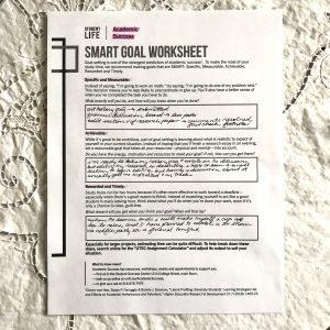 SMART worksheet.