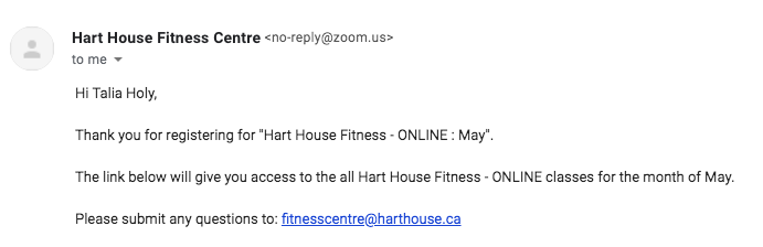 A screenshot of the Hart House email confirming my registration