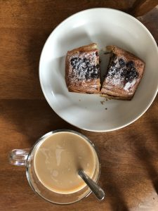 picture of homemade coffee and a pastry