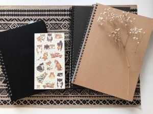 picture of 3 notebooks and a placemat