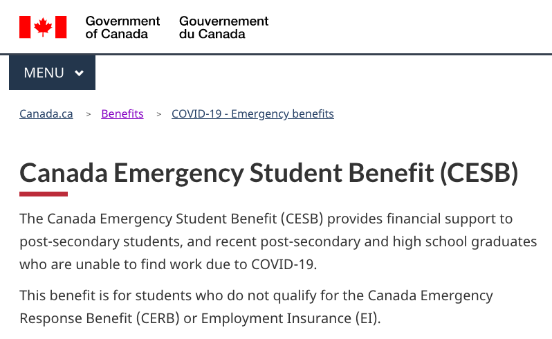 The Canada Emergency Student Benefit government page