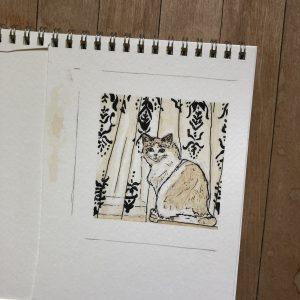 Watercolour of a long-hair cat.