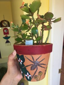 A picture of a plant pot decorated with a spider