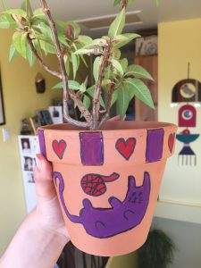 A picture of a plant pot decorated with a cat