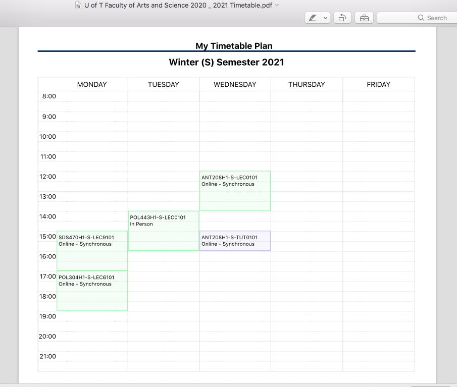 A picture of a mock timetable created on the Arts and Science Timetable website