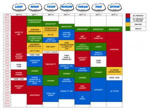 picture of the schedule for UC orientation