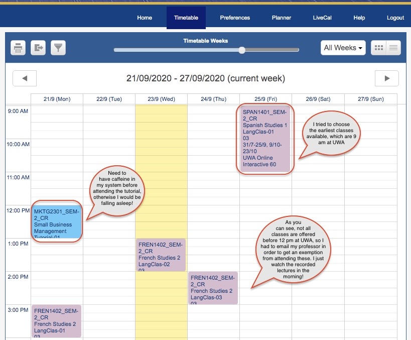 UWA online timetable with comments explaining that the earliest classes are chosen