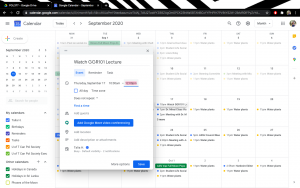 A picture of a Google Calendar with asynchronous lecture times being added to it