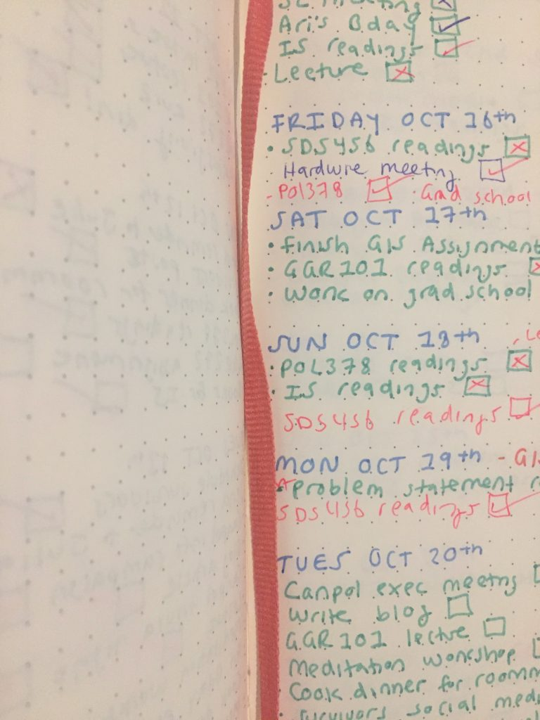 A picture of a schedule in a bullet journal