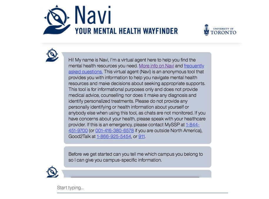 A picture of the interface for UofT's new mental health tool, Navi